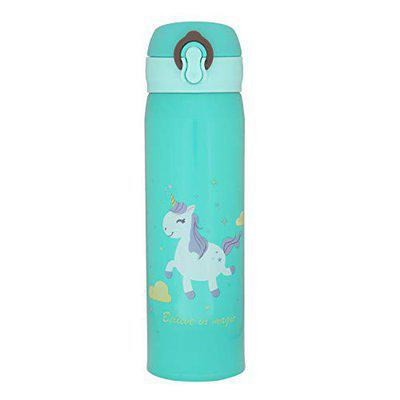 OnlineWorld Cartoon Printed Stainless Steel BPA-free Sipper Insulated Water Bottle for Kids (Green, 500 ml)