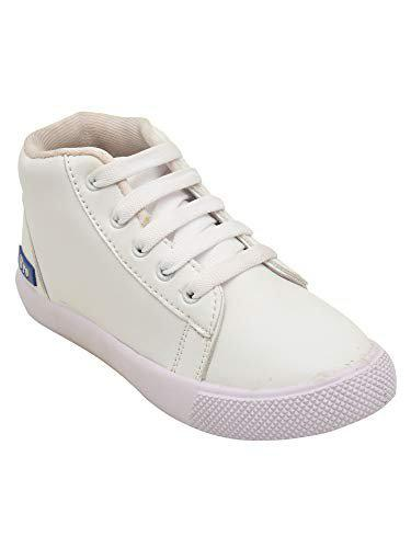 D'chica High Ankle White Shoes for Boys Sneakers-12.5 Kids UK (31 EU) (DCNV5619)