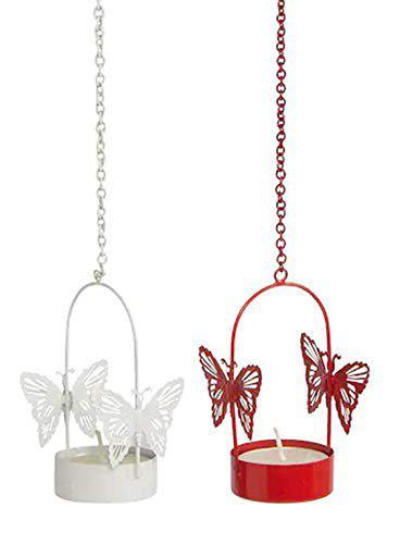 Satya Vipal Iron Hanging Butterfly Tealight Candle Holder, Pack of 2