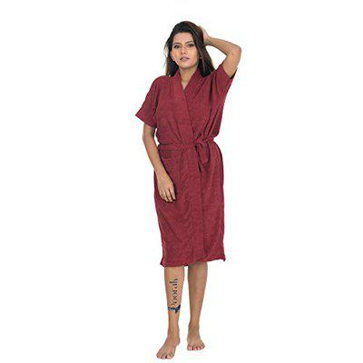 Poorak Dark Collection Maroon Color Half Sleeves Soft Terry Cotton Bathrobe for Women - Free Size Upto 42 Inches