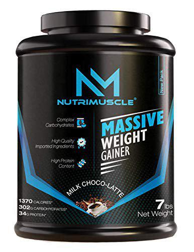 NUTRIMUSCLE MASSIVE MUSCLE MASS GAINER - 7 LBS - 3.174 KGS - CHOCO LATTE FLAVOUR - FOR MUSCLE AND MASS GAIN - MADE IN INDIA