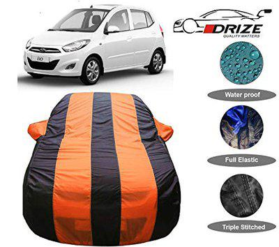 DRIZE Exotic Quality I10 Car Cover Waterproof with Triple Stitched Fully Elastic Ultra Surface Body Protection (Orange Stripes)