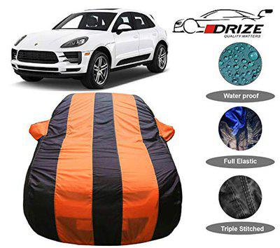 DRIZETM Finest Car Body Cover Compatible for Porsche Macan with Triple Stitched Fully Elastic Ultra Surface Body Protection (Orange Stripes)