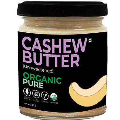 d alive Cashew Butter (Unsweetened) Organic Pure - 180g (No Sugar, No Gluten, Organic, Vegan, Low Carb, Ultra Low GI, Diabetes & Keto Friendly) - Made in Small batches, Packed in Glass Jars.