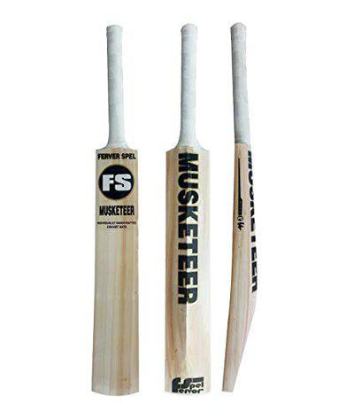 FERVOR SPEL English Willow Grade 1 Short Handle - Cricket Bat with Shock Absorbing Hand Grip and Padded Bat Protection Cover