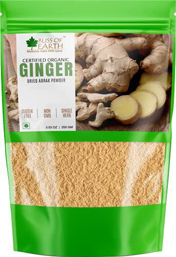 Bliss of Earth Certified Organic Ginger Powder Dry for Tea & Juice, Pure Antioxidant Super Food, 250GM