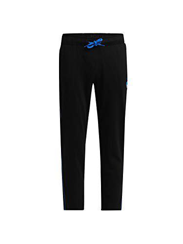 Jockey Boy's Slim Fit Trousers (AB13_Black & Neon Blue_7-8 Years)