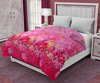 RRC Classic All Season 5* Star Hotel Microfiber - Warm Duvet/AC Comforter/Quilt Special for All Seasons - Printed Comforter - Reversible Comforter (Pink, 90 x 100)