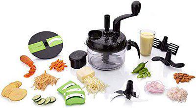 VDNSI 7 in 1 Single Dual Speed Food Processor Atta Maker, Vegetable Chopper, Chipser, Slicer, Shredder with Vacuum for Kitchen Plastic (Black)