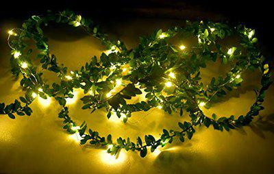 Urvi Creations 5 Meter Artificial Green Colour Merry Christmas Strings, Garlands with Battery Operated Led Light for X mas Christmas Tree Decoration and Home Decor