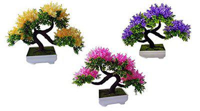 Breewell Bonsai Artificial Plants with Pot for Home Decor | Blue BW20