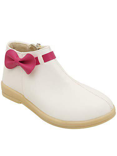 D'chica Classic White with Fuchsia Bow Ankle Boots for Girls Boots-12.5 Kids UK (32.5 EU) (DCNV5687)