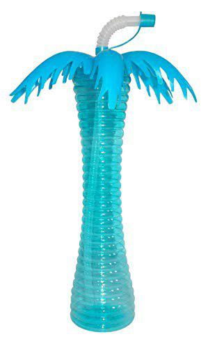 Kotak Sales Coconut Tree Shape Water Bottle 500ML Sipper Straw Glass Home Event Decoration Perfect Return Gift for Kids Birthday Party (Blue)