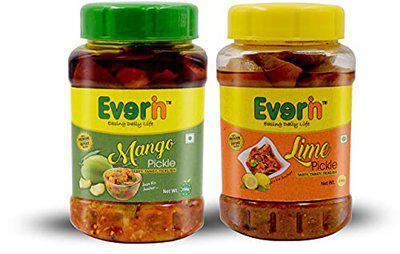 Everin Tasty Tangy and Ticklish Mango and Lime Mango, Lemon Pickle (250 g, Pack of2)