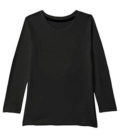 American-Elm Solid Round Neck T-Shirt for Kids | Regular Fit Full Sleeves Tshirts for Boys Black