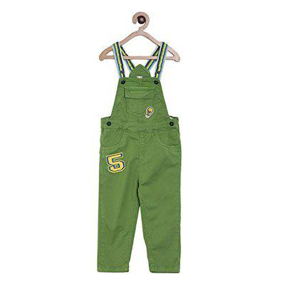 Tales & Stories Boys Green Cotton Slim Fit Dungaree - T329514-6-7-G
