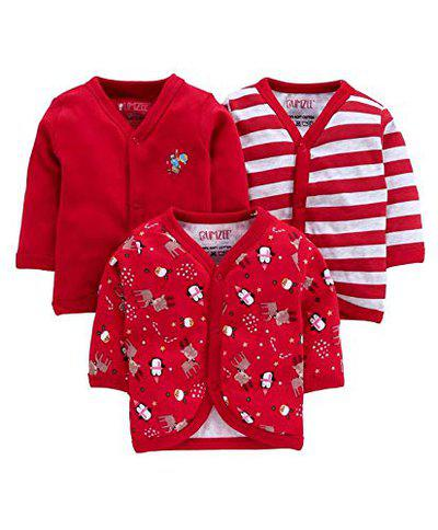 BUMZEE Unisex's Animal Print Regular fit T-Shirt (Pack of 3) (Peb3022_Red 9-12 Months)