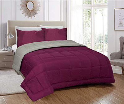 Jvin Fab Reversible Micro Polyester Light Weight AC Quilt 250 GSM Single Bed Comforter   Blanket Duvet Microfiber Filling - Very Hot Duvet (Single (60x90 Inch), Grey - Purple)