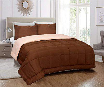 Jvin Fab Reversible Micro Polyester Light Weight AC Quilt 250 GSM Singe Bed Comforter Blanket Duvet Microfiber Filling - Very Hot Duvet (Single (60x90 Inch), Coffee - Peach)