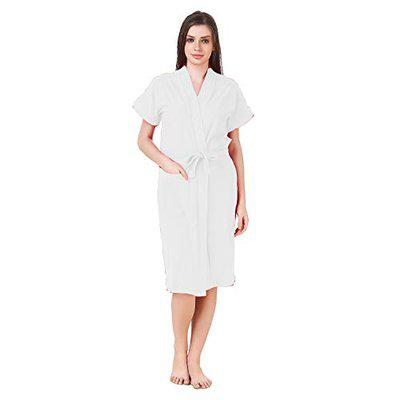 BOMBSHELL Half Sleeves Knee Length Towel Bath Gown Bath Robe for Girl's and Women (Color-White)