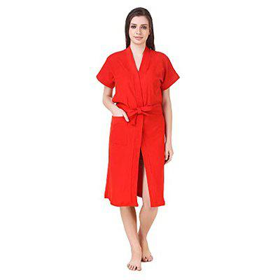BOMBSHELL Half Sleeves Knee Length Towel Bath Gown Bath Robe for Girl's and Women (Color-Red)