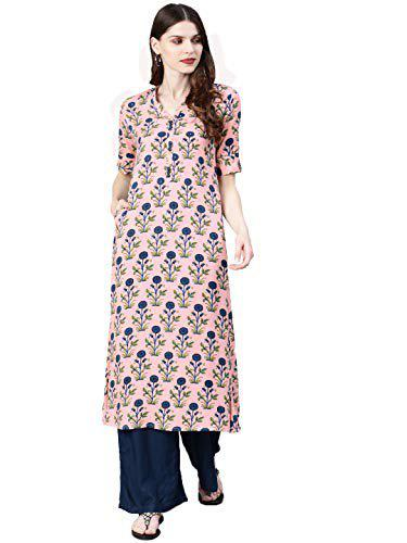 A-Line Baby-Pink Rayon Cotton Floral Printed Kurti for Girl's And Women's