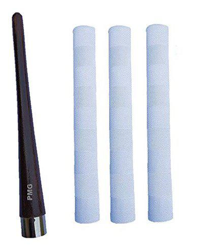 PMG g.m Bat 3 White Grips with Cone Cricket (1 Cone & 3 Grips)