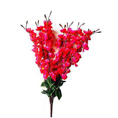 Ryme Beautiful White Orchid Artificial Flowers for Decoration (Dark Pink)
