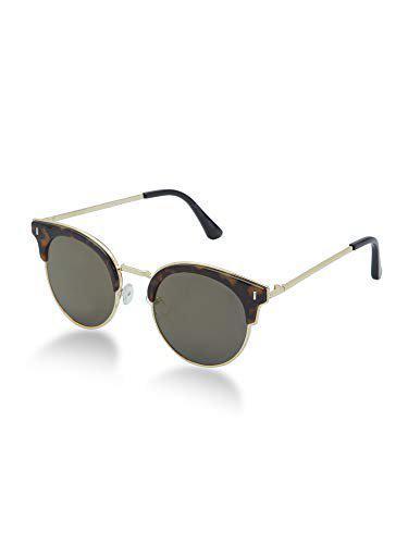 VAST 100% UV Protected Mirrored Retro Vintage Half Metal Frame For Cateye Unisex Sunglasses (3190) (GOLD MIRROR)