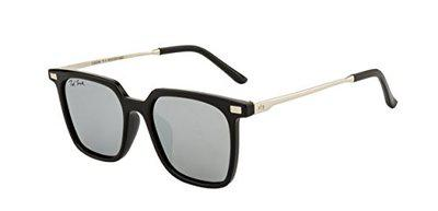 Ted Smith UV Protected Square Women's Sunglasses - (TSS-Y9926/S_T-1BLK/SIL|52|GREY WITH SILVER MIRROR Color Lens)