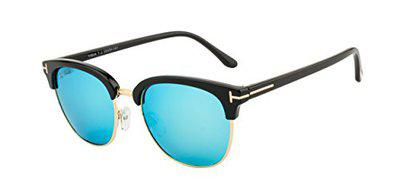 Ted Smith UV Protected Square Women's Sunglasses - (TSS-Y9934/S_T-2|53|BROWN WITH BLUE MIRROR Color Lens)