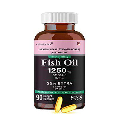 Carbamide Forte Omega 3 Fish Oil 1250mg Capsule Supplement   25 EXTRA -90 Capsules