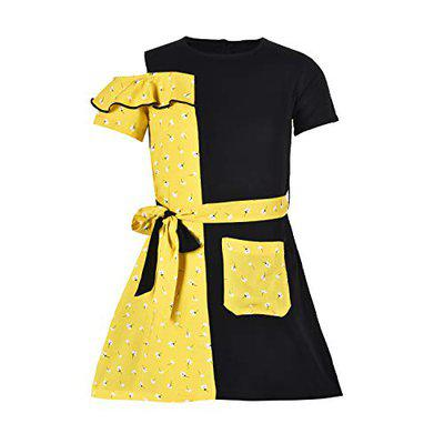 Stylo Bug Girls Yellow & Black Floral Printed Casual Wear Dress