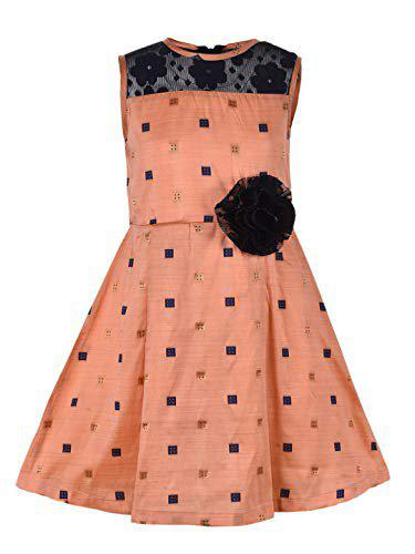Stylo Bug Girls Peach Polka Dots Printed Dress