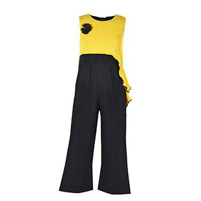 Stylo Bug Girls Yellow and Black Jumpsuit