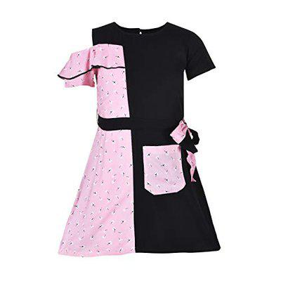 Stylo Bug Girls Pink & Black Floral Printed Casual Wear Dress