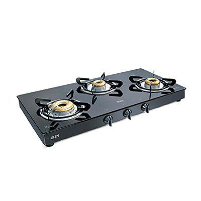 Glen 3 Burner Gas Stove 1033 GT XL Black Forged Brass Burners with Double Drip tray