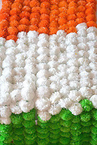 DECORATION CRAFT Plastic Marigold Flower Garlands (Tricolor Orange, White and Green) 5 Feet Long (30 Flowers in Every Garland) Pack of 5 Pcs.
