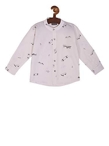 Rikidoos Cotton Fabric Boys White Full Sleeves Shirt with Down Neck Collar