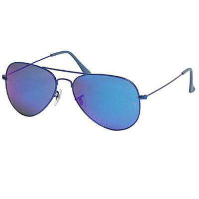Ted Smith UV Protected Aviator Unisex Sunglasses - (TSS-3025_BLUE GRADED 58 BLUE GRADED Color Lens)
