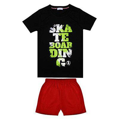 Luke and Lilly Boys Cotton Half Sleeve Tshirt & Shorts Combo - Pack of 1 Set Black, Red