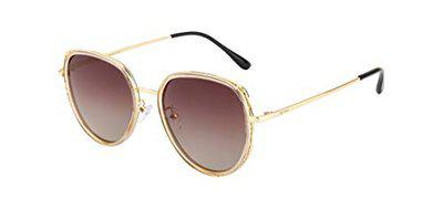Ted Smith Polarized Browline/Clubmaster Women's Sunglasses - (TSS-201986_C70 56 BROWN GRADED Color Lens)