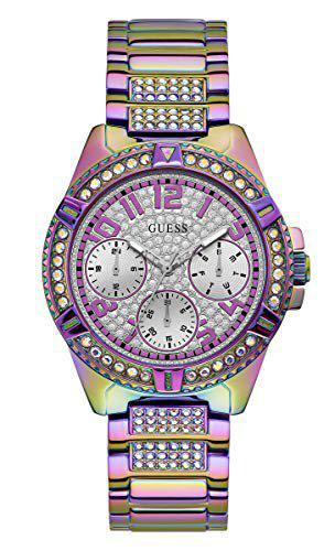 Guess Analogue Women's Watch (Silver Dial Purple Colored Strap)