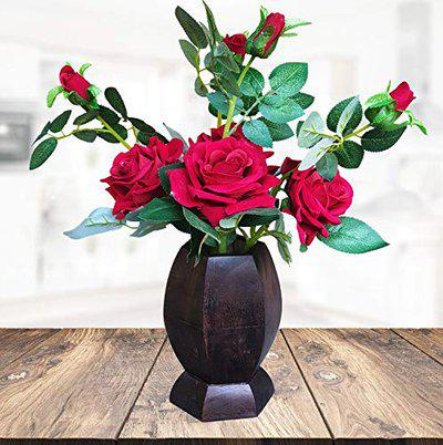 Litleo's Artificial Rose Flowers with Wooden Pot, Fake Flowers in Pot Silk Flower Arrangement Decorative for Home Farmhouse Office Table Centerpieces Wedding Party Indoor Decor or Gift