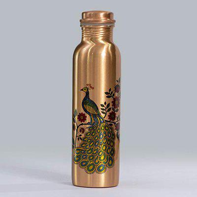 DEV CB1LR-03,PEACOCK PRINTED 100 %PURE COPPER WATER BOTTLE LEAK-PROOF CAP WITH LAB TESTED CERTIFICATE- AN AYURVEDIC COPPER VESSEL-DRINK MORE WATER, LOWER YOUR SUGERINTAKE AND ENJOY THE HELTH BENEFITS IMMIDIATELY. This copper bottle is perfect for everyone and ideal for the people with an active lifestyle.