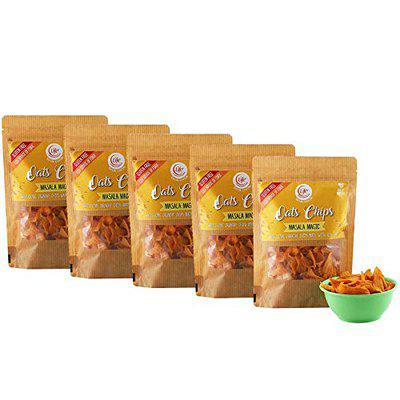 Life Gluten Oats Chips - Masala Magic (Combo Pack of 5 - Each 100 Grams) - Healthy Chips, Great Snack