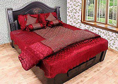 SD ENTERPRISES Gold Printed Satin Red Double Bed Bedding Set: 1 Bedsheet, 2 Pillow Cover, 1 AC Comforter - Set of 8 Pieces