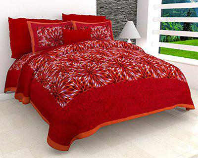 FrionKandy Rajasthani Jaipuri Traditional Sanganeri Print 104 TC Cotton Double Size Bedsheet with 2 Pillow Covers (Red, 82x92 Inch)
