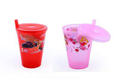 XSOURCE Joyo Sipper Glass with Straw and LID for Kids Pack of 2 (2 Glass)