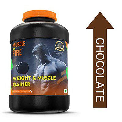 Muscle on fire weight & muscle gainer protein supplement powder with digestive enzymes 1.5kgs (chocolate)